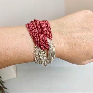 Pink And Silver Twist Chain Boho Bracelet NWOT